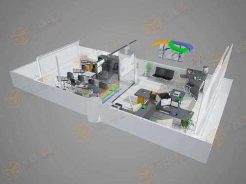 3D isometrica E-fortrade Oficinas China